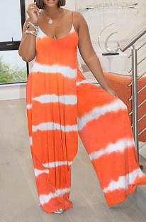 Stripe Tie Dye Orange Digital Print Condole Belt Tank Low Cut Sexy Wide Leg Jumpsuits YYF8231-4