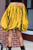 Black A Word Shoulder Lantern Sleeve Solid Color Loose Mini Dress H1675-4