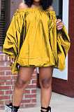 Yellow A Word Shoulder Lantern Sleeve Solid Color Loose Mini Dress H1675-1