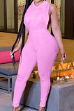 Pink Lapel Neck Hollow Out Solid Color Sexy Bodcon Jumpsuits YSS8069-2
