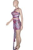 Blue Sexy Mesh Bandage Halter Neck Strapless High Waist Short Skirts Kontted Sets SN390138-4