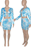 Blue Tie Dye Print Round Neck Bandage Long Sleeve High Waist Short Skirt Sets SN390111-2
