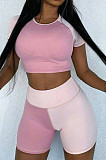 Pink Spliced Round Neck Short Sleeve Crop Top Shorts Casual Two-Piece ZQ8086