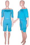 Purple Solid Color Summer A Word Shoulder Loose Short Sleeve Half Pants Casual Sets SN390143-4