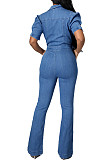 Dark Blue Casual Lapel Neck Zipper Short Sleeve Slim Fitting Jean Wide Leg Jumpsuits SMR2928-2