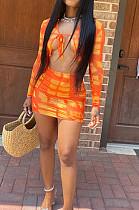 Orange Tie Dye Print Round Neck Bandage Long Sleeve High Waist Short Skirt Sets SN390111-1