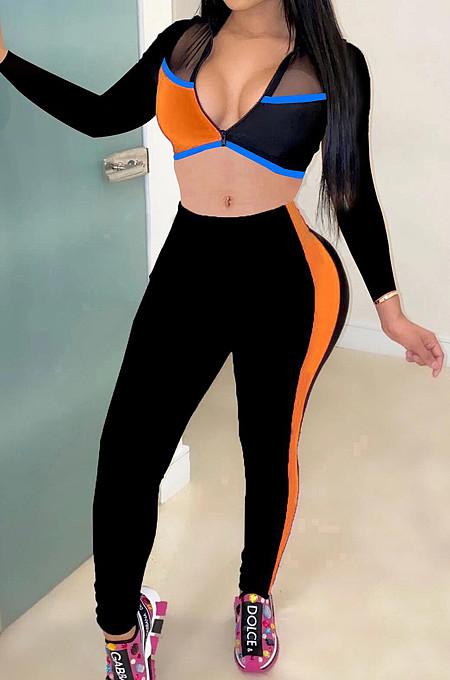 Orange Fashion Spliced V Neck Long Sleeve Crop Top Tight Pants Two-Piece YMT6227-1