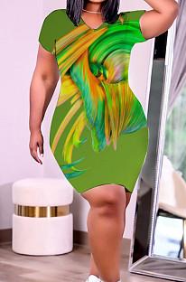 Green Plus Size Print Round Collar Short Sleeve Loose T-Shirt Dress HHB4037