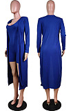 Royal Blue New Solid Color Sleeveless Round Neck Romer Shorts+Long Sleeve Cardigan Coat Two-Piece WY6682-7
