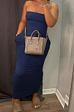 Khaki Sexy Strapless Backless Solid Colur Bodycon Long Dress SN390151-1
