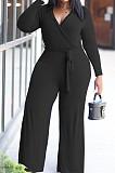 Black Plus Size Fashion V Neck Long Sleeve Loose Elastic With Belt Wide Leg Jumpsuits BDF8092-1