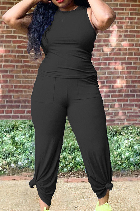 Black Casual O Collar Sleeveless Top Flare Pants With Pocket Solid Color Two-Piece WM21623-3