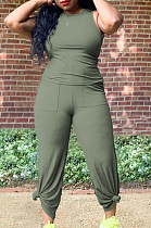 Army Green Casual O Collar Sleeveless Top Flare Pants With Pocket Solid Color Two-Piece WM21623-4