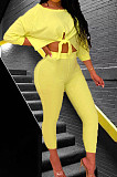Yellow Summer Round Collar Three Quarter Sleeve Bandage Top Bodycon Pants Two-Piece YMT6222-2