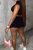 Black Summer Sleeveless Neckline Zipper Crop Top High Waist Multilayer Shorts Casual Sets LS6461