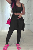 Black Pure Color Round Neck Long Sleeve Loose Top With Tank Ninth Pants Sport Three-Piece JH270-3