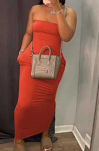 Red Sexy Strapless Backless Solid Colur Bodycon Long Dress SN390151-5