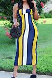 Yellow Cotton Blend Modest Stripe Condole Belt Strapless Sexy Boycon Dress YMT6216-1