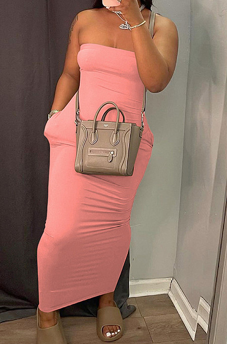 Pink Sexy Strapless Backless Solid Colur Bodycon Long Dress SN390151-6