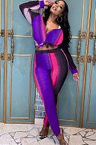 Purple Leisure Multicolor Printing Splicing Long Sleeves Shirt Bodycon Pants Sets MLM9075-3
