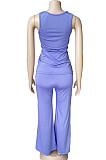 Light Purple Casual O Collar Sleeveless Top Flare Pants With Pocket Solid Color Two-Piece WM21623-5