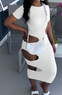 White Nigh Club Hollow Out Backless O Neck Solid Color Bodycon Dress LM88803-1