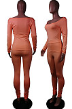 Red Nigh Club Low Cut Long Sleeve Tight Top Long Pants Two-Piece WY6697-2