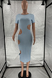 Light Blue Nigh Club Hollow Out Backless O Neck Solid Color Bodycon Dress LM88803-2
