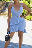 Sky Blue Cotton Blend Sexy Tied Deep V Neck Backless Solid Color Ruffle Dress BS1281-5