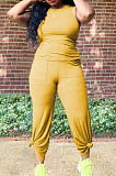 Yellow Casual O Collar Sleeveless Top Flare Pants With Pocket Solid Color Two-Piece WM21623-2