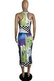 Colorful New Summer Digital Print U Neck Sleeveless Tank Bodycon Dress LS6459