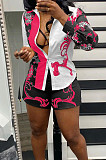 Rose Red New Digital Print Lapel Neck Single-Breasted Long Sleeve Shirt Shorts Two-Piece QY5059-1