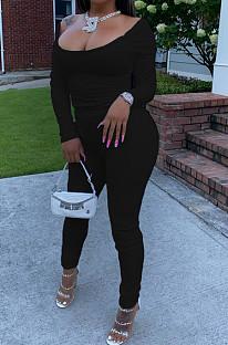Black Nigh Club Low Cut Long Sleeve Tight Top Long Pants Two-Piece WY6697-4