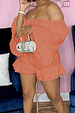 Orange Strapless Ruffle Sleeve Crop Top Flutter Shorts Solid Color Loose Two-Piece QSS51028-5