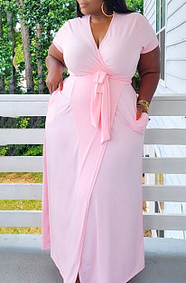 Pink Plus Size Short Sleeve V Collar Bandage High Elastic Solid Color Long Dress BDF8090-1