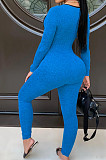 Royal Blue Sexy Hollow Out Letter Print Strapless Long Sleeve Bodycon Jumpsuits YMT6225-2