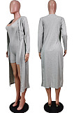 Grey New Solid Color Sleeveless Round Neck Romer Shorts+Long Sleeve Cardigan Coat Two-Piece WY6682-3