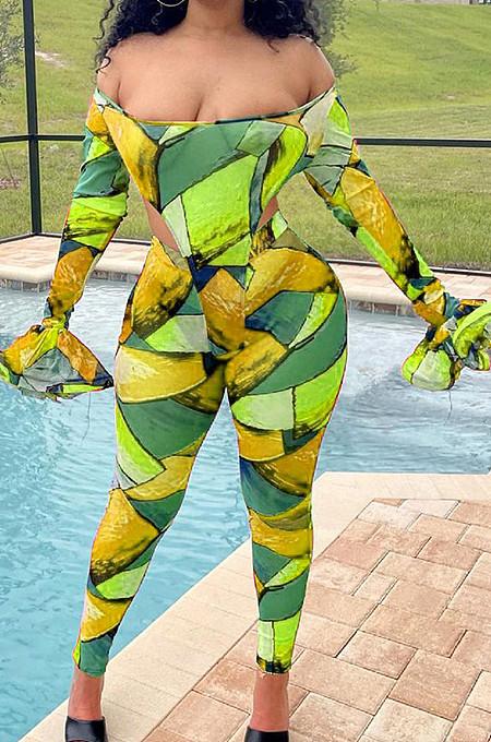 Green Print Off Shoulder Ruffle Sleeve Long Pants Fashion Two-Piece HHB4042-3