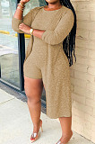 Light Coffee New Solid Color Sleeveless Round Neck Romer Shorts+Long Sleeve Cardigan Coat Two-Piece WY6682-2