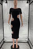 Black Nigh Club Hollow Out Backless O Neck Solid Color Bodycon Dress LM88803-4