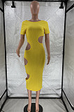 Yellow Nigh Club Hollow Out Backless O Neck Solid Color Bodycon Dress LM88803-3