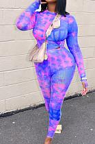 Purple Cotton Blend Print Round Collar Long Sleeve Capris Pants Casual Two-Piece JH269-1