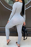 Silver Sexy Hollow Out Letter Print Strapless Long Sleeve Bodycon Jumpsuits YMT6225-1