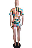 Colorful Plaid Printing Lapel Collar Single-Breasted Shirt Belt Romper Shorts BS1280
