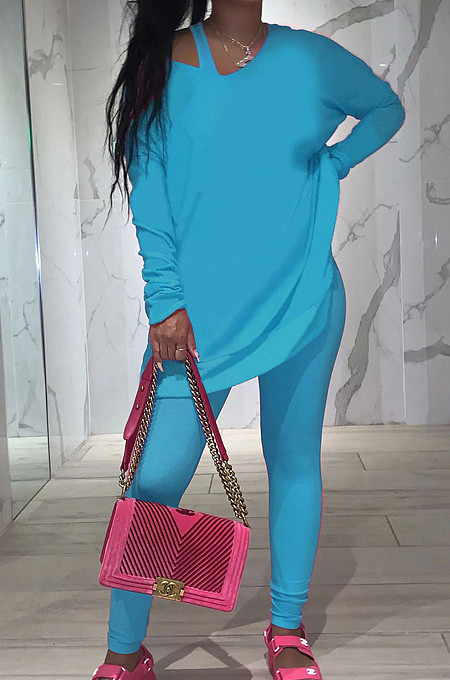 Blue Pure Color Round Neck Long Sleeve Loose Top With Tank Ninth Pants Sport Three-Piece JH270-2
