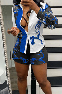 Blue New Digital Print Lapel Neck Single-Breasted Long Sleeve Shirt Shorts Two-Piece QY5059-2