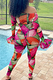 Rose Red Print Off Shoulder Ruffle Sleeve Long Pants Fashion Two-Piece HHB4042-2