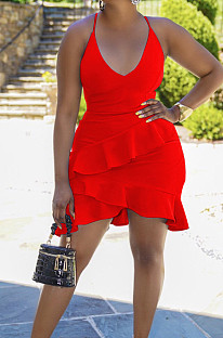 Red Cotton Blend Sexy Tied Deep V Neck Backless Solid Color Ruffle Dress BS1281-2
