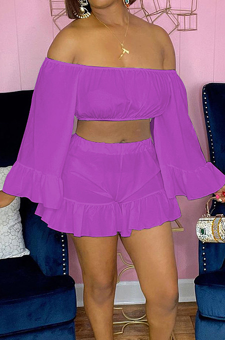 Purple Strapless Ruffle Sleeve Crop Top Flutter Shorts Solid Color Loose Two-Piece QSS51028-4