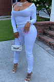 White Nigh Club Low Cut Long Sleeve Tight Top Long Pants Two-Piece WY6697-1